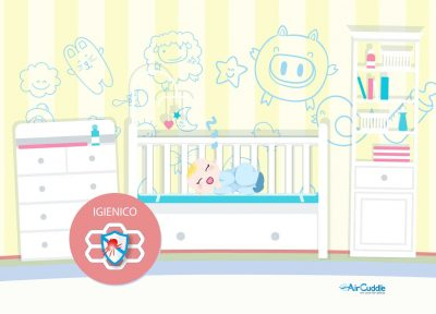 TOP SAFE, a 99.9% effective screen that protects baby's rest from mites and allergens. Airmid healthgroup has tested it for us.